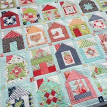 Dwell block swap quilt with custom quilting
