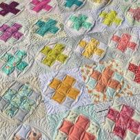 Raspberry kiss block swap quilt square version