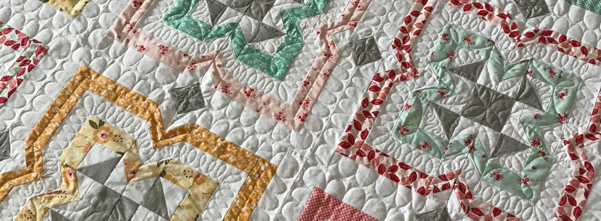 Custom quilting on desert rose quilt by kate spain