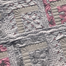 Log cabin variation baby quilt floral quilting