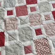 Red and gray squares valentine quilt