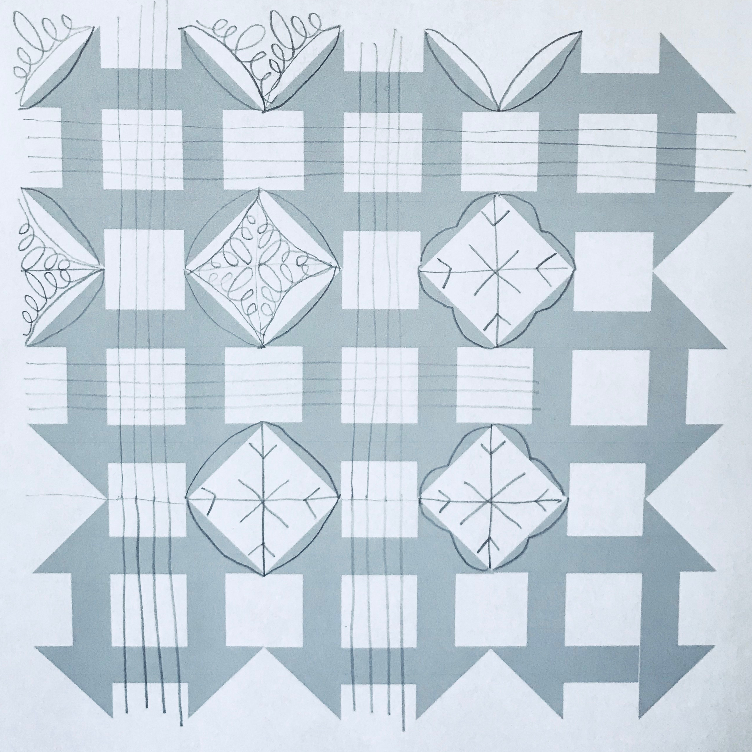 churn dash quilting with snowflake