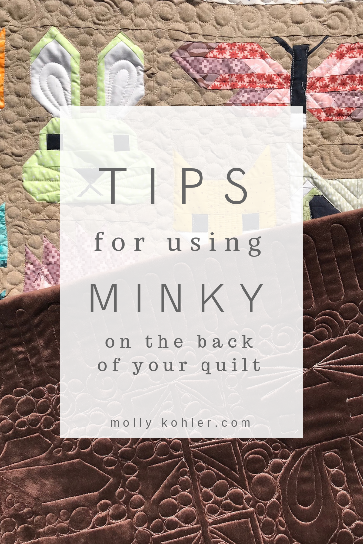 minky backing on fancy forest quilt tips