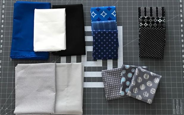 Fabrics for Center Filed Quilt tutorial