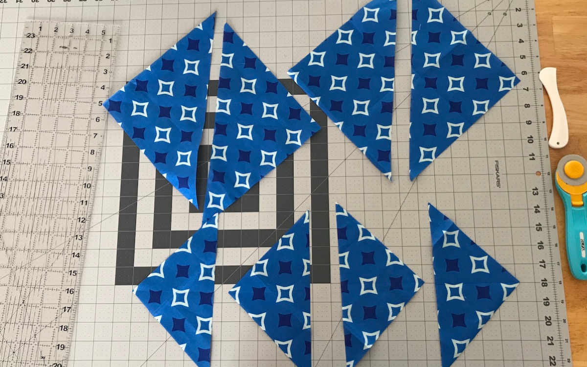 cut squares in half center field quilt
