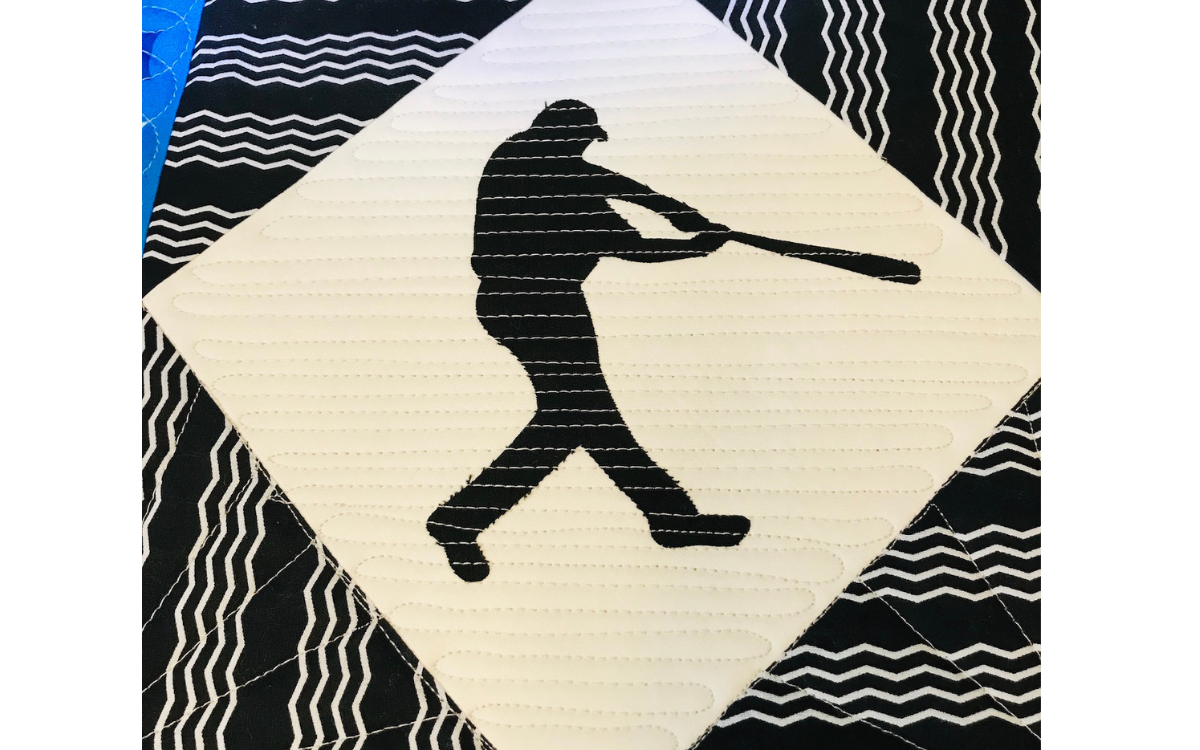 Appliqué by Quilting Baseball Player Silhouette Center Field Quilt