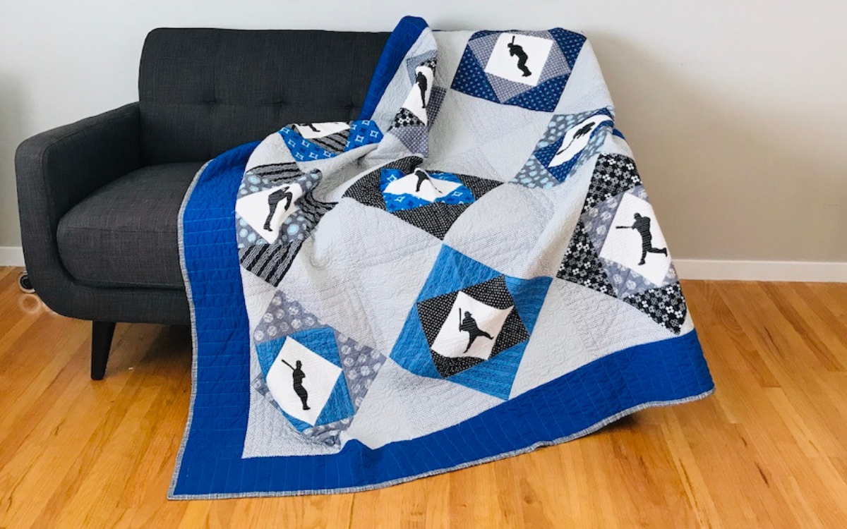 Center Field Quilt on Sofa Baseball Quilt Tutorial