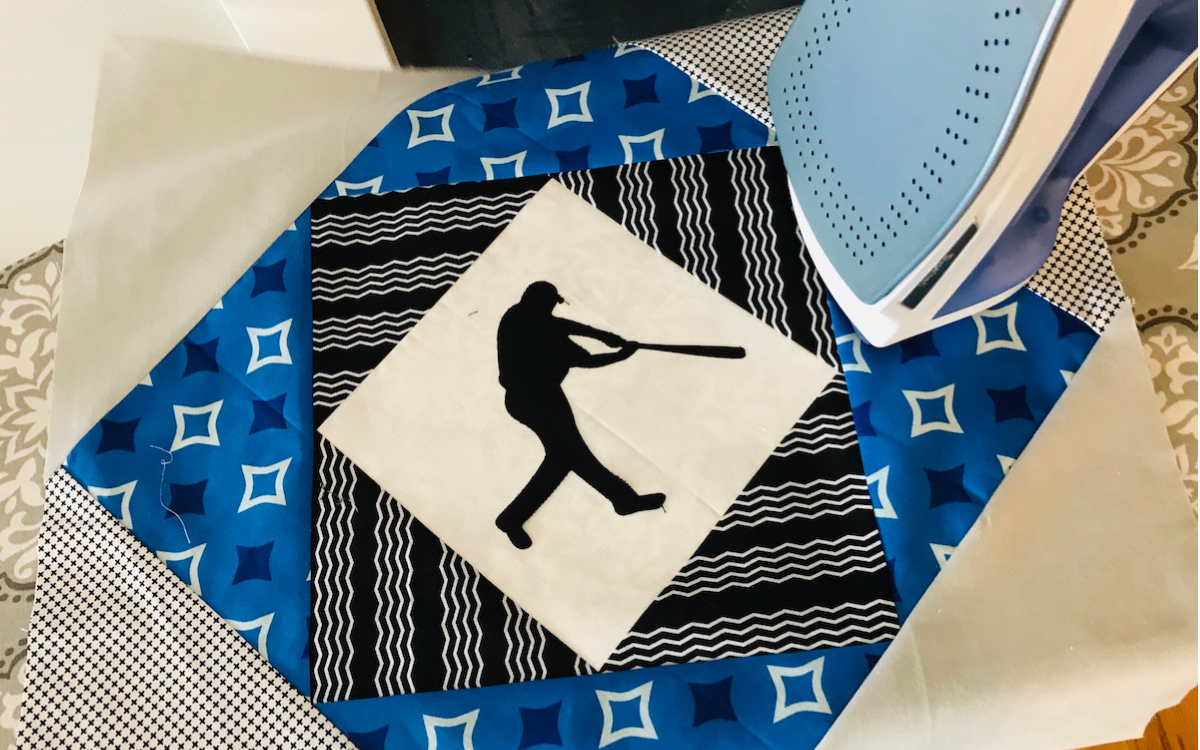 Baseball Player Silhouette Iron on Center Field quilt
