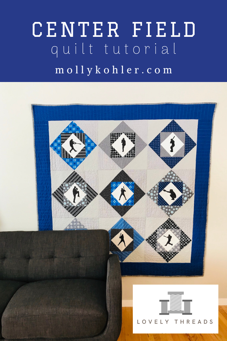 Center Field Quilt Tutorial; Baseball Quilt Tutorial; Silhouette Tutorial