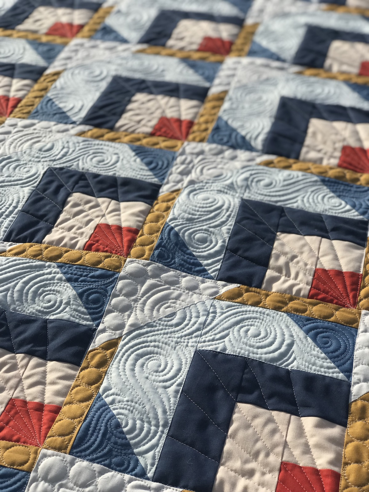 Snow Cabin Quilt custom quilting; art deco quilting; long arm quilting