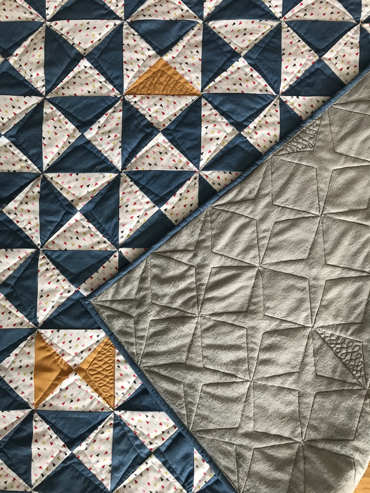 time flies front and back custom quilting