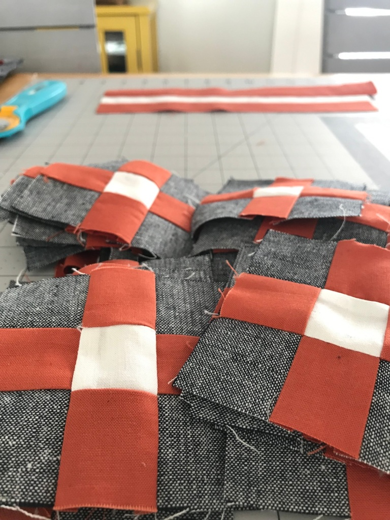Nine patch blocks for Golden Slumbers quilt
